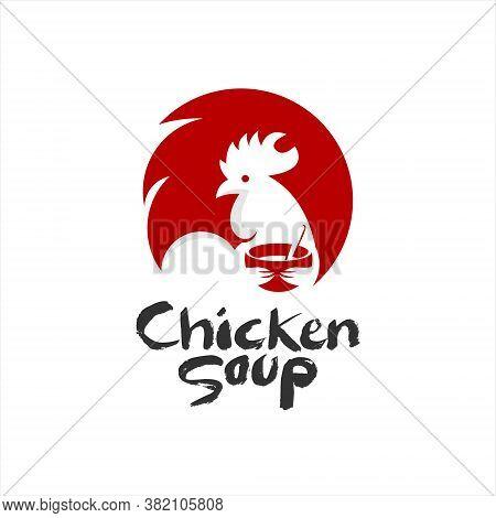 Chicken Soup Logo Design Flat Color. Asian Food Culinary Recipe Menu Vector Template Inspiration