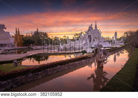 Beautiful Scenery Of Wat Rong Khun Or White Temple With Twilight Sky On Winter Season, Chiangrai, Th