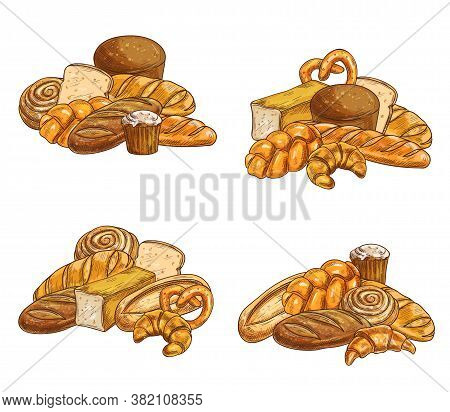 Bread, Pastry And Bakery Shop Products Sketch Vectors. Rye And Wheat Bread With Cheese, Brioche Loaf