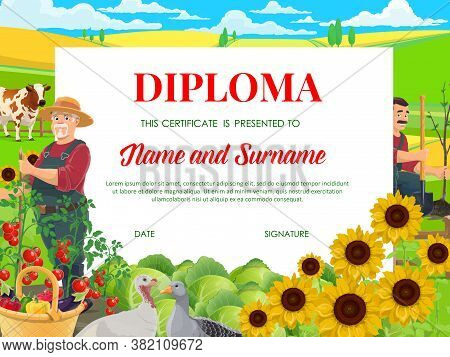 School Diploma, Education Vector Certificate With Farmers Working In Garden With Fowl And Cow Graze