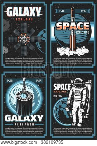 Space Exploring Retro Vector Posters. Galaxy Expedition Adventure Vintage Cards With Astronaut, Shut