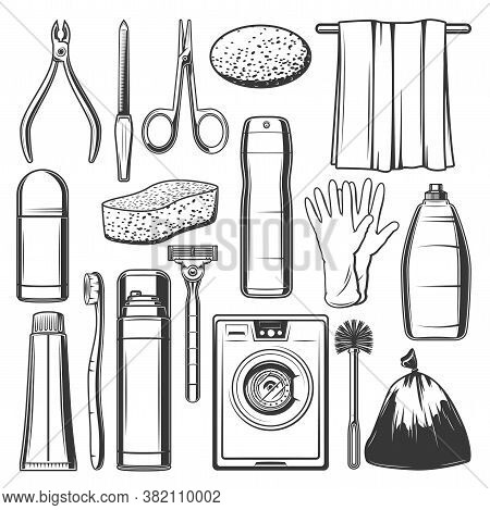 Personal Hygiene Icons, Household Cleaning Items, Skin Care And Bath Washing Bath, Vector. Hygiene P