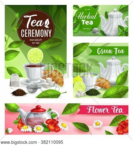 Tea Vector Posters With Cup, Teapot And Kettle With Green Leaves. Mugs Of Hot Beverage And Herbal Dr