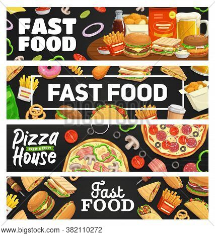 Fast Food, Takeaway Meal Banners, Vector Burger, Hot Dog, Pizza And Sandwich, Soda Drink, French Fri