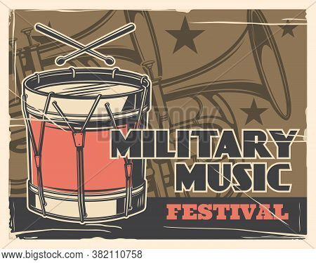 Music Festival, Military Band And Army Parade Vector Poster. Military Guard Music Instruments Trumpe
