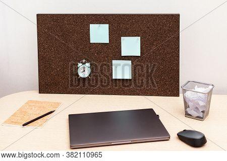 Comfortable Workspace For Student, Office Worker, Freelancer. Desktop For Online Training, Remote Wo