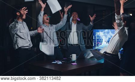 Millennial Group Of Young Businesspeople Asia Businessman And Businesswoman Throwing Documents Feeli