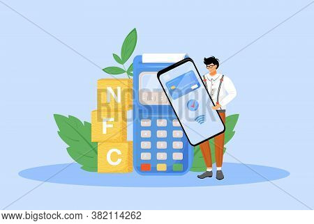 Nfc Payment Flat Concept Vector Illustration. Man Using Smartphone For Contactless Payment 2d Cartoo