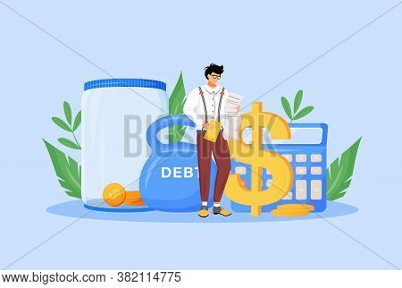Tax Calculator Flat Concept Vector Illustration. Financier, Economist, Taxpayer Studying Bills 2d Ca