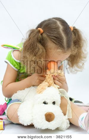 The Girl Plays In The Doctor With Toy Tools, Over White