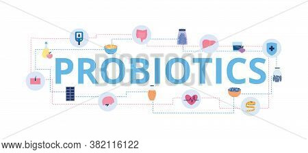 Probiotics Letters And Bifidobacteria Icons Flat Vector Illustration Isolated.