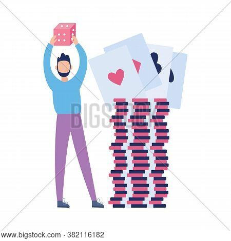 Man Character Near Pile Of Casino Game Bet Coins, Vector Illustration Isolated.