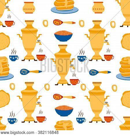 Russian Maslenitsa Seamless Pattern With Samovar And Caviar Vector Illustration.