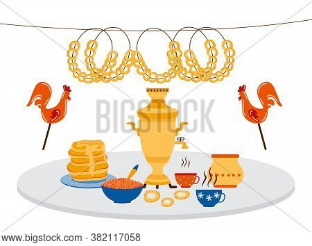 Traditional Russian Food On Table Spread - Samovar With Tea Cups And Dinner Elements