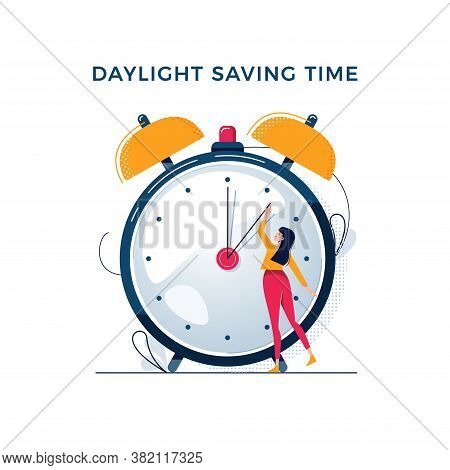 Daylight Saving Time Illustration. Young Woman Turns The Hand Of The Clock. Turning To Winter Or Sum