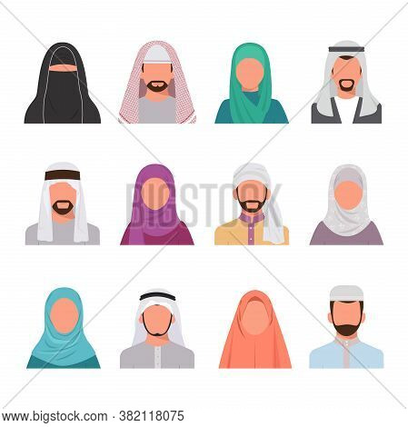 Muslim Characters Avatars Set. Arabian Face Portraits Men Women Trendy Colored Hijabs Traditional Is