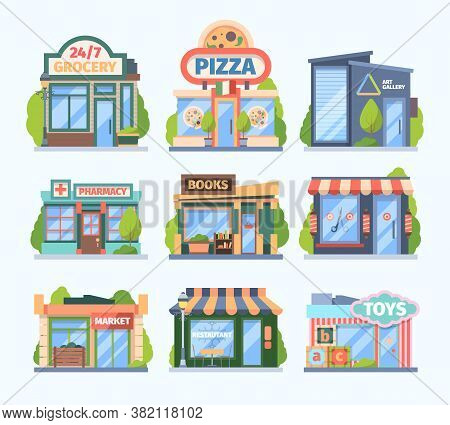 Stores And Market Set. Facade Colored Shops Pharmacies Retail Outlets Book Galleries Toy Store Food