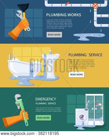 Emergency Plumbing Horizontal Banners. Repair Clogged Pipe Drain Emergency Elimination Dirty Water S