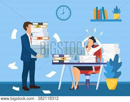 Overworked In The Office. Female Worker At The Desk Exhausted With Too Much Paper Work, Her Colleagu