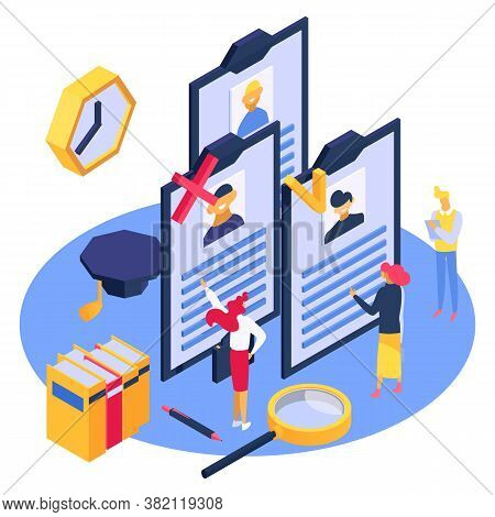 Hr Isometry Employee Work, Vector Illustration. Isometric Hiring To Job Team, Business Employment An