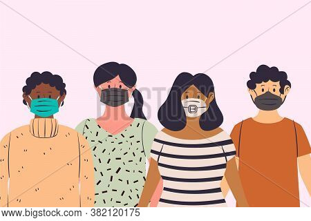 People Using Various Face Mask Illustration. Graphic Design Element.