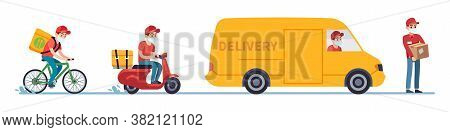 Quarantine Delivery. Couriers In Medical Masks On Bike, Motorcycle And Truck, Order Or Parcel To Cli