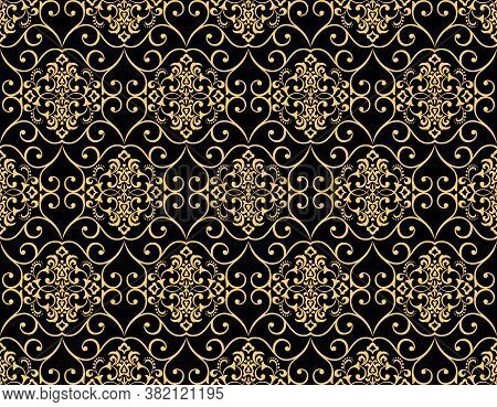 Wallpaper In The Style Of Baroque. Seamless Vector Background. Black And Gold Floral Ornament. Graph