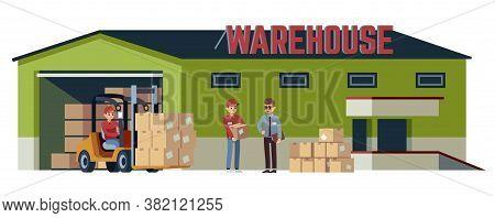 Warehouse Flat Building. Logistic Transportation Pitman Forklift Loader Moving Goods, Operations Acc