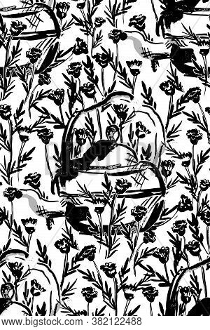 Monochrome Teapot In A Garden Seamless Vector Pattern. Teapot Painted In Ink Placed In Flowery Cute