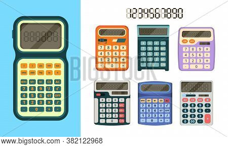 Calculators Flat Icon. Education Tools Collection Gadgets For Businessmen And Financial Workers Vect