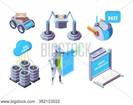 Smart Industry. Robotic Processes Automotive Machinery Manufacturing Vector Plant Isometric Set. Ind