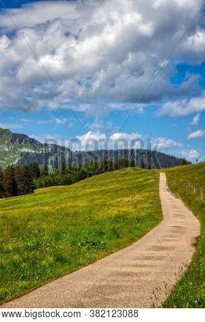 Amazing Hdr Shot Of A Hiking Path In The Swiss Alps Near Les Mosses, Summer