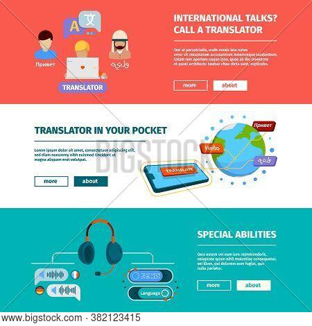 Translator Banners. Horizontal Pictures With App Translation Services Translator Dictionary Ebooks V