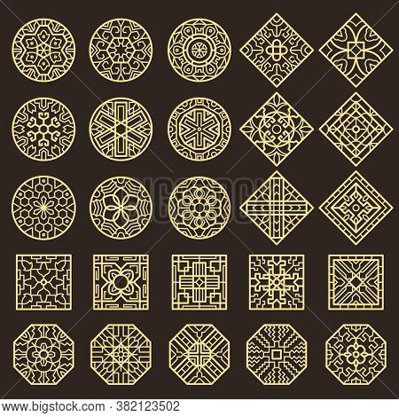Traditional Korean Ornament. Asian Decoration Geometrical Authentic Shapes For Tattoo Patterns Vecto