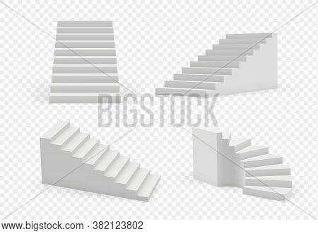 Stairs Realistic. Architectural Object Staircase Up Steps Vector Modern Templates Collection. 3d Rea