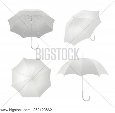 Realistic Umbrellas. Rain Protection Symbol Umbrella In Various View Points Vector Blank Template. W