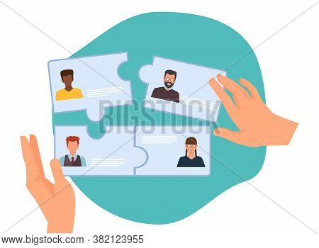 Business Collaboration. New Team Forming, Hr Hires Employees. Recruitment Agency Vector Illustration