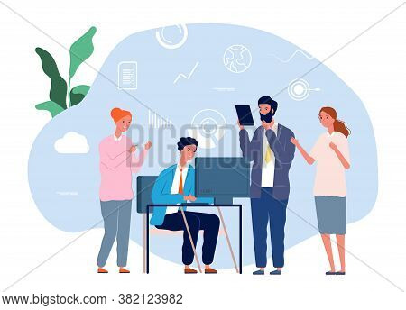 Colleagues Help Work. Mutual Assistance, Teamwork. Business Team Brainstorming Vector Illustration.