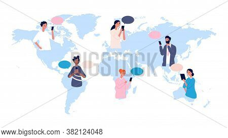 Globalisation. People Avatars On World Map. International Communication, Online Friendship. Multicul