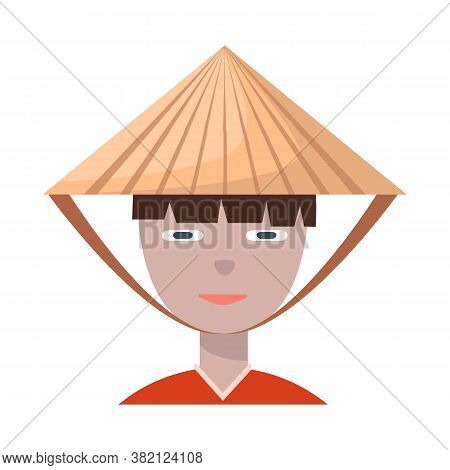 Isolated Object Of Vietnamese And Portrait Symbol. Set Of Vietnamese And Costume Vector Icon For Sto
