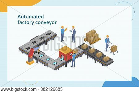 Industrial Automation And Manfacture Concept. Composition With Male Characters Working With Automate