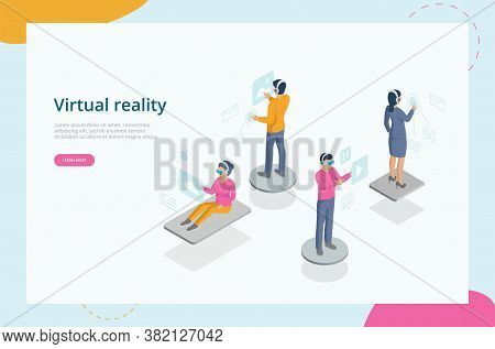 Virtual Reality Experience Concept. People Move Objects Around Using A Virtual Reality Headset Immer