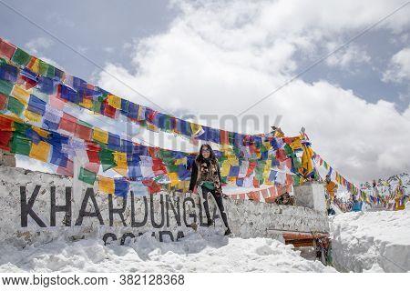 Leh Ladakh Jammu And Kashmir, India - April 2019 - Area Of Khardung La Pass With Traditionally Praye