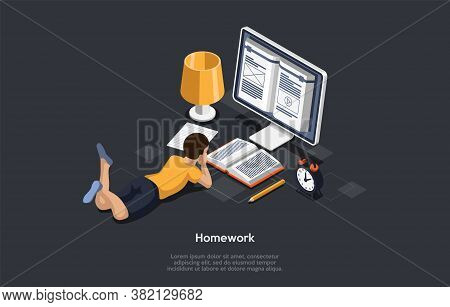 Education, Studying Concept. Student In Learning Process. Kid Lying In Front Of The Screen Studying,