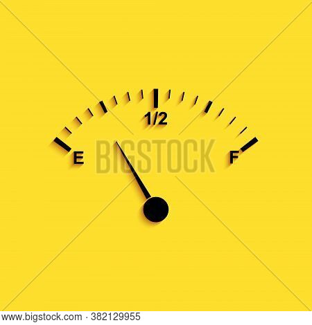 Black Motor Gas Gauge Icon Isolated On Yellow Background. Empty Fuel Meter. Full Tank Indication. Lo