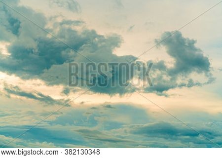 Blue Sky And White Clouds In The Morning With Sunrise Light. Beautiful Cloudscape In The Morning. Ha