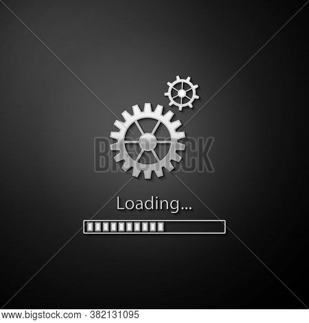 Silver Loading And Gear Icon Isolated On Black Background. Progress Bar Icon. System Software Update