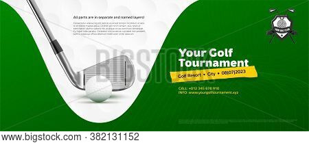 Invitation Template For Golf Tournament. Golf Ball, Golf Stick, Green Background And Copy Space For