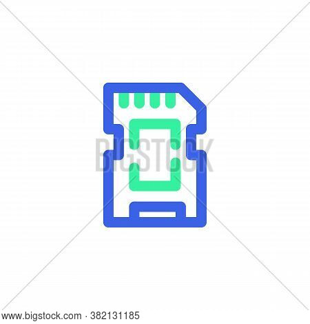 Memory Sd Card Line Icon. Linear Style Sign For Mobile Concept And Web Design. Micro Sd Card Outline