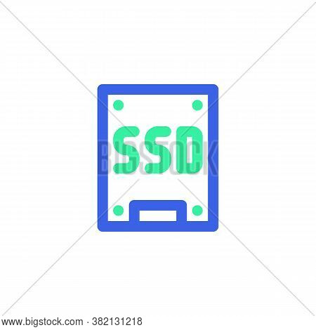 Solid-state Drive Line Icon. Linear Style Sign For Mobile Concept And Web Design. Ssd, Storage Disk